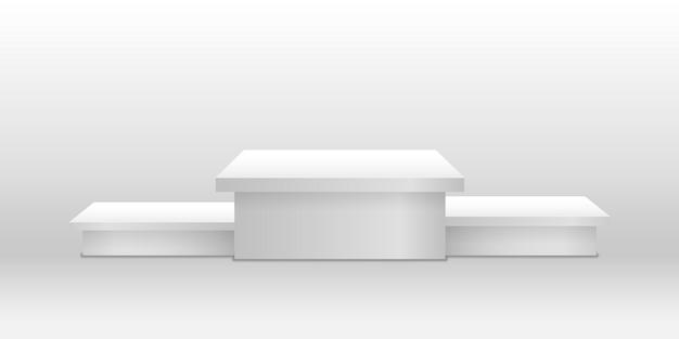 Okrągłe i kwadratowe puste sceny i schody podium wektor szablon 3d