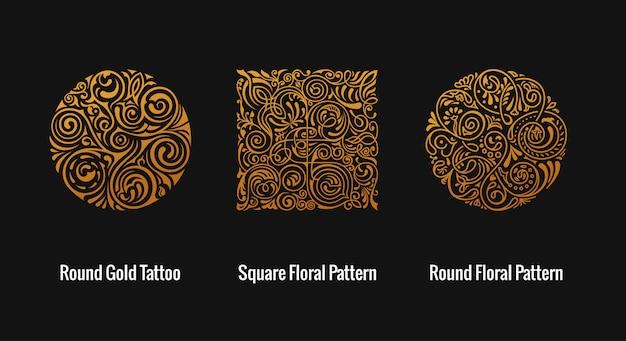 Okrągłe i kwadratowe złote kwiatowe wzory