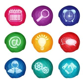 Okrągłe ikony biznesu akwarela