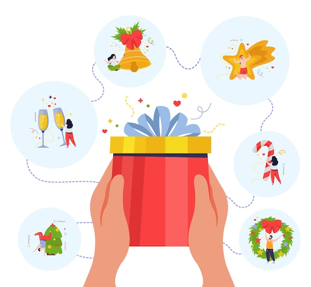 Okrągłe ilustracje z elementami świątecznymi i ludzkimi rękami trzymającymi ilustrację pudełka na prezent