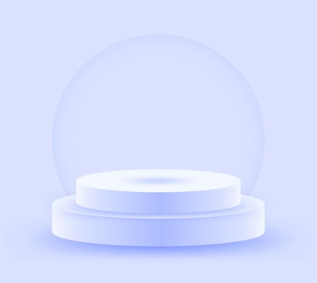 Okrągłe, jasnoniebieskie podium oświetlone światłem.