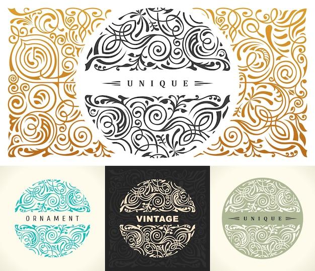 Okrągłe kaligraficzne emblematy i kwiatowy symbol pieczęci sklepu kawiarni