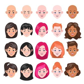Okrągłe kobiety twarz i ilustracja styl włosów