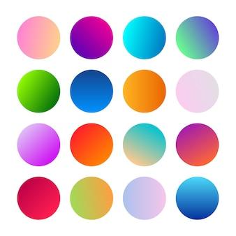 Okrągłe kule gradientowe. zestaw szesnastu modnych wielokolorowych gradientów. ilustracja wektorowa