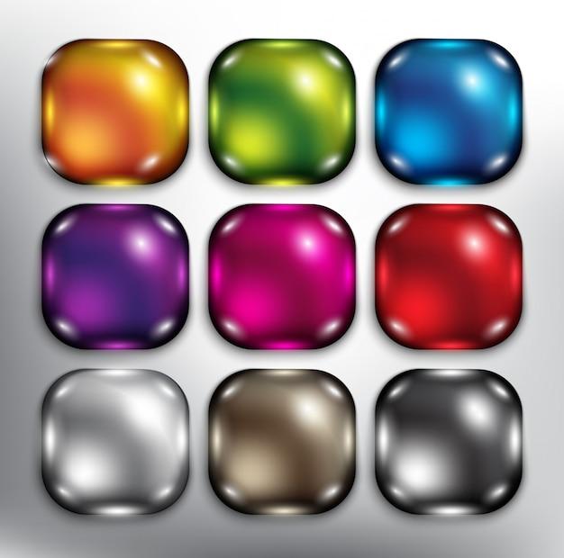 Okrągłe kwadratowe przyciski internetowe. pojedynczo na białym tle.