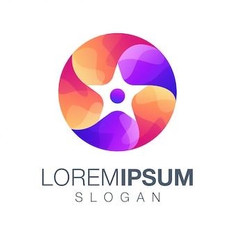 Okrągłe logo gradientu w kolorze gwiazdy