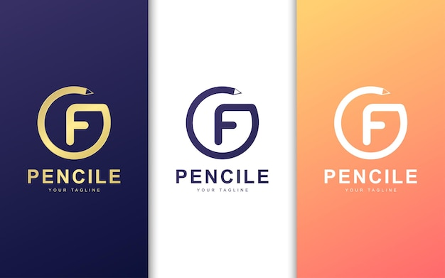 Okrągłe logo litery f. koncepcja logo nowoczesnej szkoły