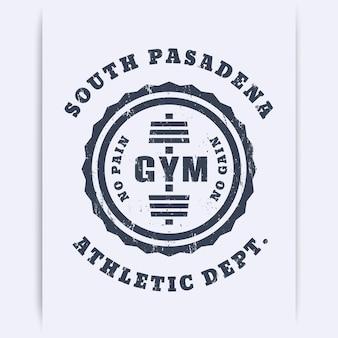 Okrągłe logo rocznika siłowni, godło, znak, z grunge tekstur, ilustracji wektorowych