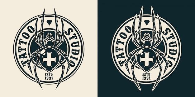 Okrągłe logo salonu tatuażu w stylu vintage