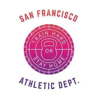 Okrągłe logo siłowni, nadruk na koszulce, znaczek, znak nad białym
