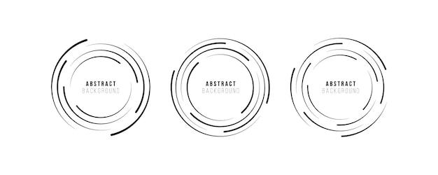 Okrągłe logo technologii. promieniowe linie prędkości w kształcie koła dla komiksów, spirala. tło wybuchu. abstrakcyjny kształt geometryczny koło. element projektu. płaska konstrukcja.