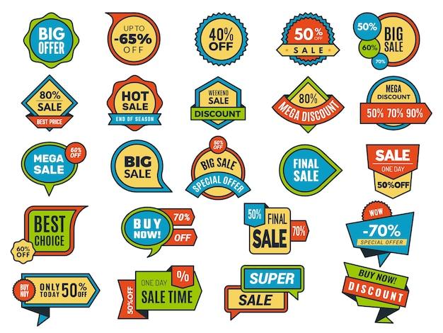 Okrągłe naklejki sprzedaży. tagi promocyjne lub odznaki kolekcja naklejek reklamowych najlepsza cena. oferta cenowa ilustracji, etykieta biznesowa do sprzedaży detalicznej w sklepie