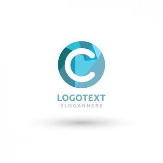 Okrągłe niebieskie logo z wielkim c