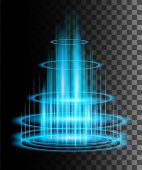 Okrągłe niebieskie promienie blask sceny nocnej z iskier na przezroczystym tle