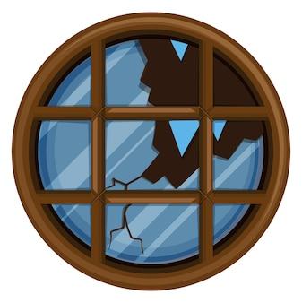 Okrągłe okno z potłuczonym szkłem