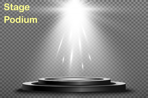 Okrągłe podium, cokół lub platforma, oświetlone reflektorami. jasne światło. światło z góry.