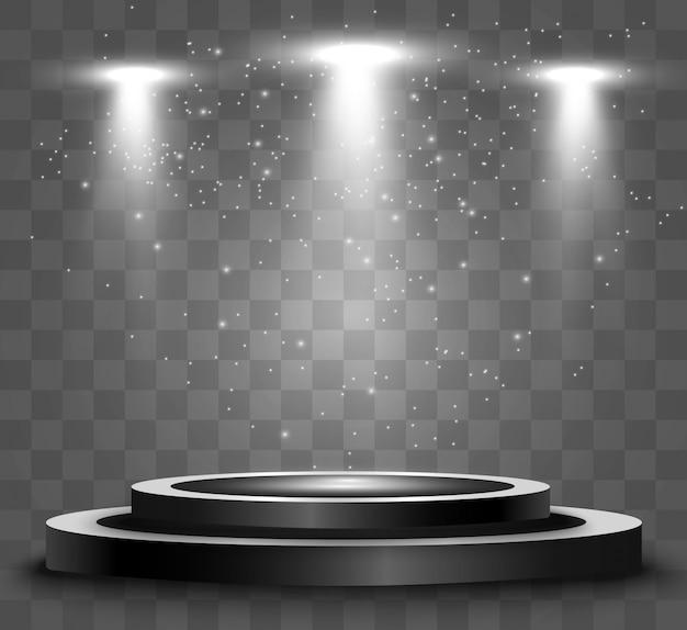 Okrągłe podium, cokół lub platforma, oświetlone reflektorami w tle. jasne światło. światło z góry.