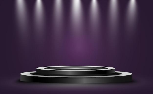 Okrągłe podium, cokół lub platforma, oświetlone reflektorami.