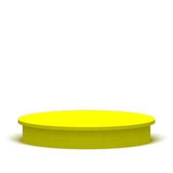 Okrągłe podium w kolorze żółtym. piedestał. etap.