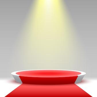 Okrągłe podium z czerwonym dywanem i reflektorem cokół platforma ekspozycyjna produktów 3d