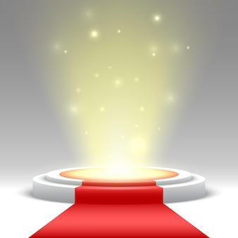 Okrągłe podium z czerwonym dywanem i światłami. piedestał. etap.