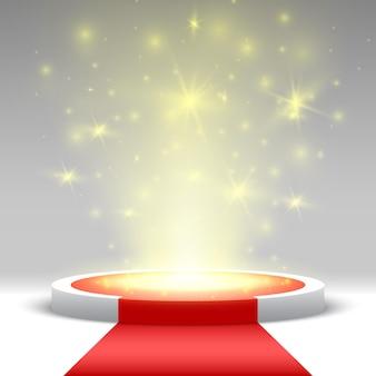Okrągłe podium z czerwonym dywanem i światłami. piedestał.