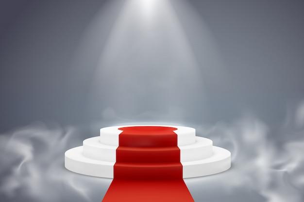 Okrągłe podium z czerwonym dywanem