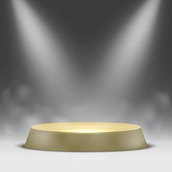 Okrągłe podium z reflektorami i parą. piedestał.