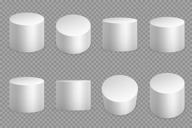 Okrągłe podstawy podium 3d. biały cylinder z litym cokołem. okrągły fundament filaru na białym tle