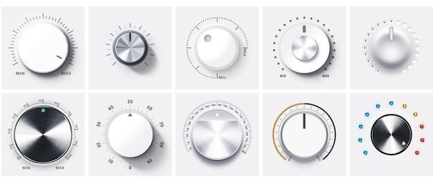 Okrągłe pokrętła regulacji poziomu głośności