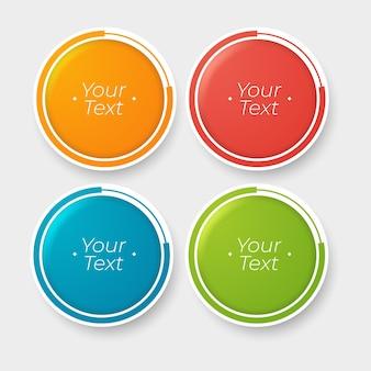 Okrągłe przyciski w czterech kolorach z miejscem na tekst