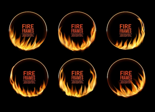 Okrągłe ramki cyrkowe z płomieniami ognia i płonącymi pierścieniami okręgu, wektor. efekt blasku ognia, obramowanie ramek płonących flar lub płonącego płomienia i skwierczącego blasku