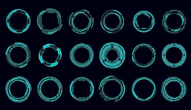 Okrągłe ramki i obramowania hud, kontrola celowania i interfejs cyfrowy, wektor. technologia hud i przyszła gra techniczna, granice celów i ramki hologramów, przyciski wyświetlania danych użytkownika i radary