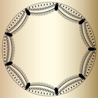 Okrągłe ramki koronki na złotym tle