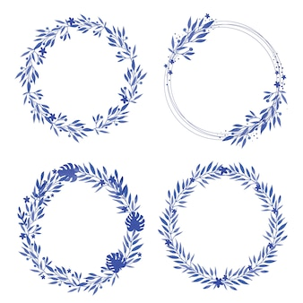 Okrągłe ramki niebieski wieniec akwarela kwiatów.