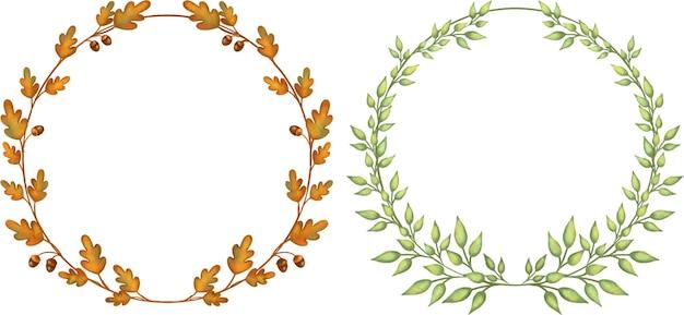 Okrągłe ramki z brązowych i zielonych liści