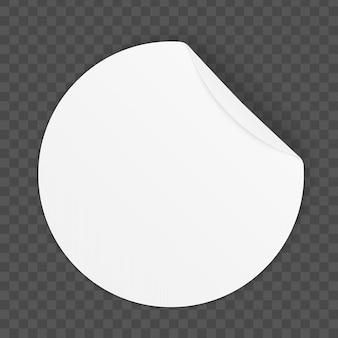 Okrągłe samoprzylepne papierowe naklejki z zakrzywionym rogiem.