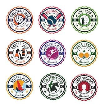 Okrągłe sport club logo odznaka ustaw ilustracji