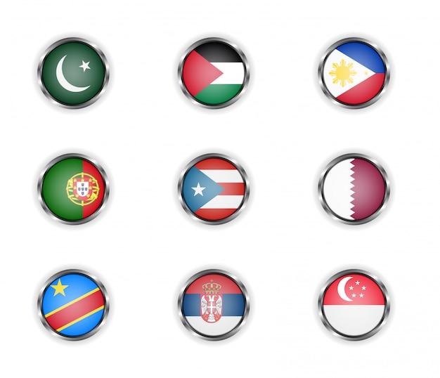 Okrągłe stalowe guziki z flagami państw pakistan, palestyna, filipiny, portugalia, portoryko, katar, republika konga, serbia i singapur