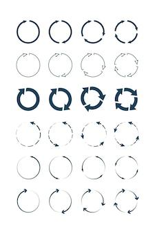 Okrągłe strzałki. okrągłe formy i kształty kolekcja symboli infografika