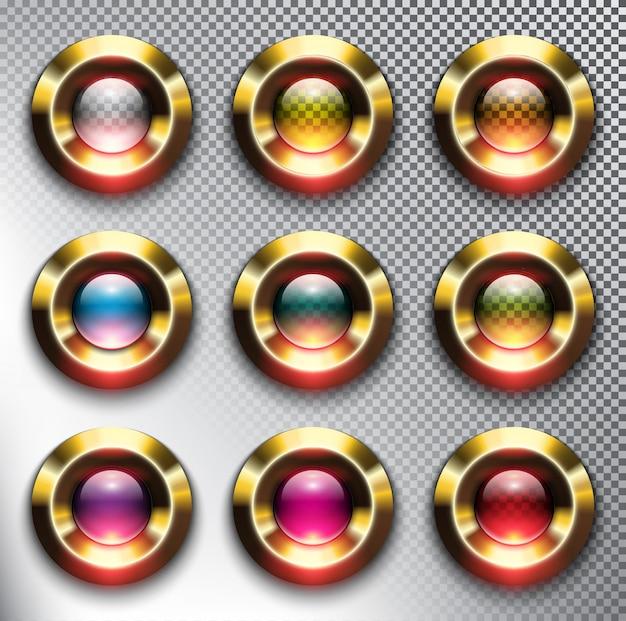 Okrągłe szklane przyciski internetowe ze złotą ramą. odosobniony