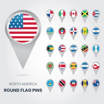 Okrągłe szpilki z flagą ameryki północnej