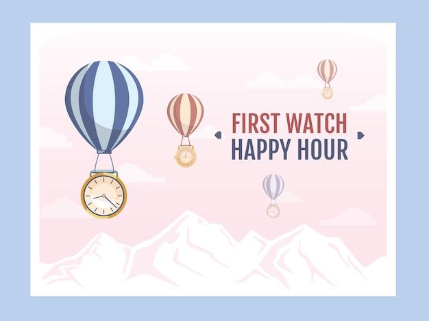 Okrągłe tarcze zegara latające z balonami powietrznymi ilustracją z próbkami tekstu.