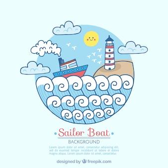 Okrągłe tło z łodzi i latarni morskiej