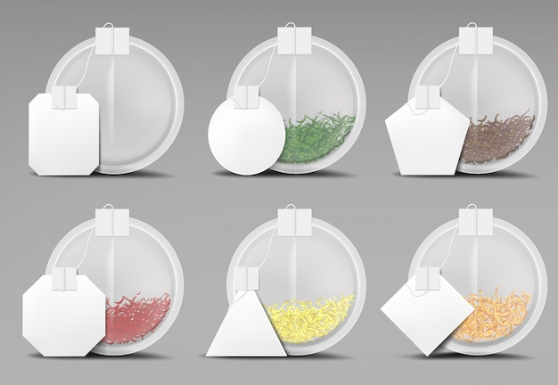 Okrągłe torebki herbaty zestaw na białym tle