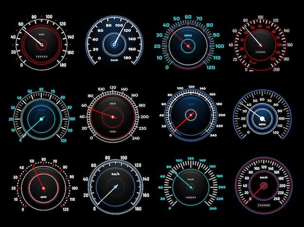 Okrągłe wskaźniki prędkościomierza na desce rozdzielczej samochodu ze świecącym neonem