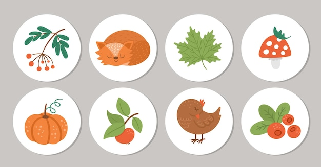Okrągłe wzory kart z ptakiem, lisem, dynią. jesienna szpilka lub znaczek. zwierzęta leśne w sezonie jesiennym