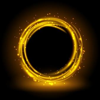 Okrągłe złote błyszczące tło