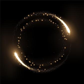 Okrągłe złote pierścienie świecące z iskrami