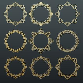 Okrągłe złote ramki kaligrafii.